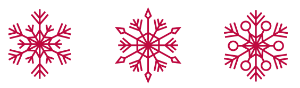 3 geometrical snowflakes in candy cane red