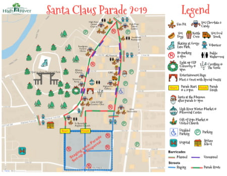 Parade route through downtown marking key fun locations
