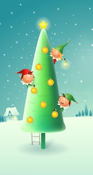 3 Elves in Christmas tree