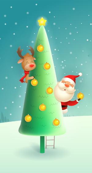 Santa and reindeer in Christmas tree