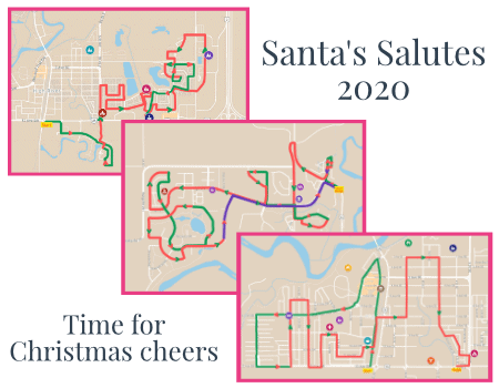 Overview of three Santa's Salute routes